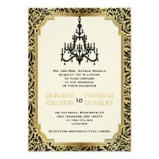 Art Deco chandelier black, gold wedding 5