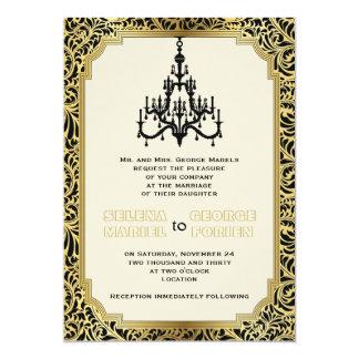 Art Deco chandelier black, gold wedding Invite