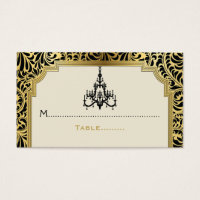 Art Deco chandelier black, gold wedding place card