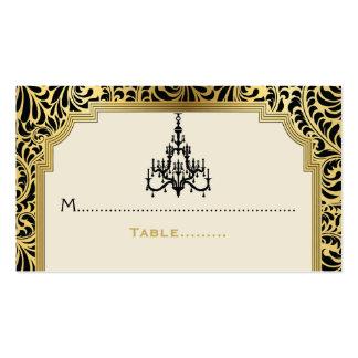 Art Deco chandelier black, gold wedding place card Business Card