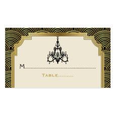 Art Deco chandelier black, gold wedding place card Business Card Template