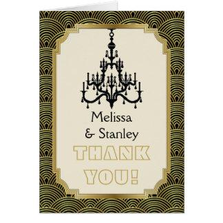 Art Deco chandelier black, gold wedding Thank You Card