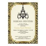 "Art Deco chandelier gold wedding bridal shower 5"" X 7"" Invitation Card"