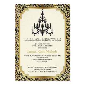 Art Deco chandelier gold wedding bridal shower Cards
