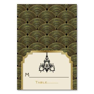 Art Deco chandelier seigaiha wedding place card