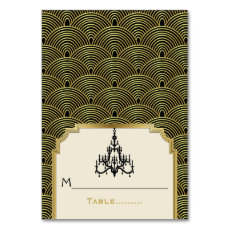 Art Deco chandelier seigaiha wedding place card Table Card