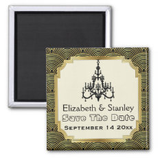 Art Deco chandelier seigaiha wedding Save the Date Magnets