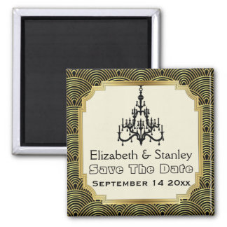 Art Deco chandelier seigaiha wedding Save the Date Magnet