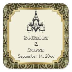 Art Deco chandelier seigaiha wedding Save the Date Square Sticker
