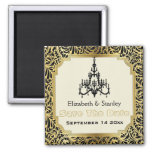 Art Deco chandelier wedding Save the Date 2 Inch Square Magnet