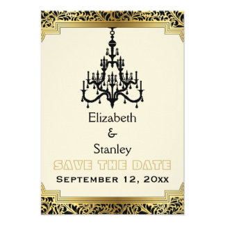 Art Deco chandelier wedding Save the Date Custom Invitations