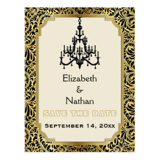 Art Deco chandelier wedding Save the Date Postcard