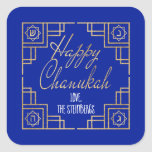 """Art Deco Chanukkah  Blue and Gold Design Square Sticker<br><div class=""""desc"""">""""Chanukah Happy/Gold"""" Stickers Square. Have fun using these stickers as cake toppers, gift tags, favor bag closures, or whatever rocks your festivities! Background color can be changed by selecting a different color from color swatches. Personalize by deleting text, and adding your own words, using your favorite font style, size, and...</div>"""