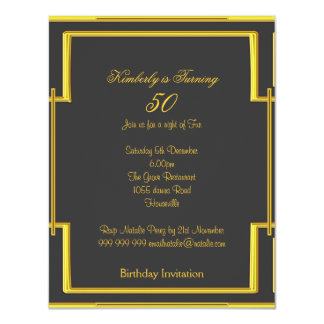 Art Deco Charcoal Butterfly 50th Birthday 4.25x5.5 Paper Invitation Card