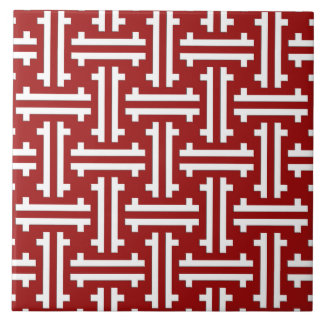 Art Deco Chinese Fret, Dark Red and White Tile