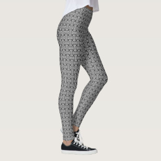 Art Deco Chinese Fret, Silver and Graphite Grey Leggings