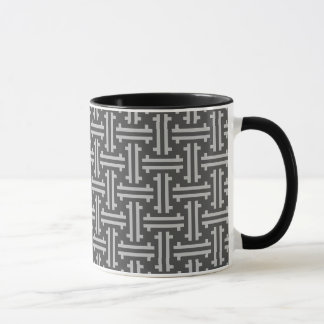 Art Deco Chinese Fret, Silver and Graphite Grey Mug