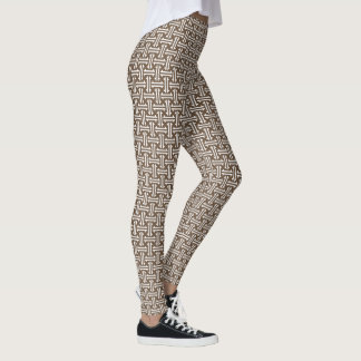 Art Deco Chinese Fret, Taupe Tan and White Leggings