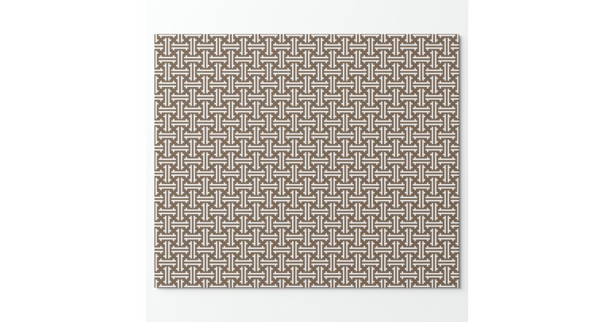 Art deco chinese fret taupe tan and white wrapping paper zazzle - Deco taupe ...