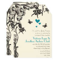 Art Deco Christian Floral Wedding Invitation