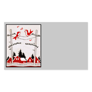 Art Deco Christmas Birds Double-Sided Standard Business Cards (Pack Of 100)