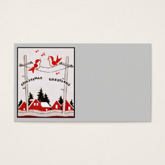 Art Deco Christmas Birds Business Card
