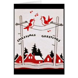 Art Deco Christmas Birds Greeting Card
