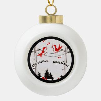 Art Deco Christmas Birds Ceramic Ball Christmas Ornament