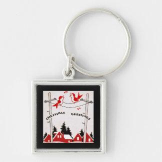 Art Deco Christmas Birds Keychains