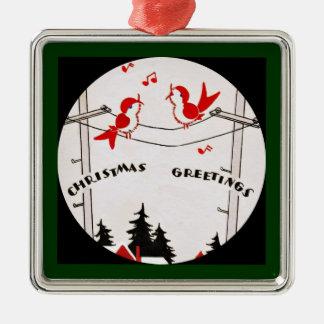 Art Deco Christmas Birds Metal Ornament