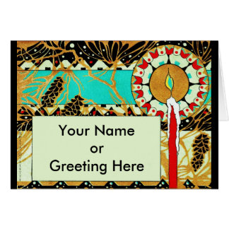 Art Deco Christmas Candle Pinecones Card