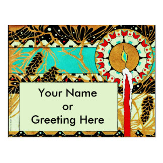 Art Deco Christmas Candle Pinecones Postcard