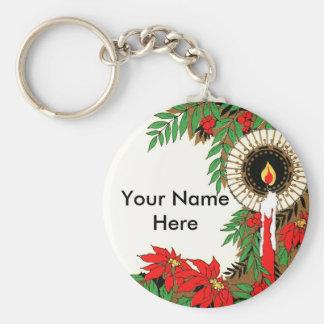 Art Deco Christmas Candle & Poinsettia Key Chains