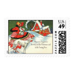 Art Deco Christmas Girl Postage stamps Vintage