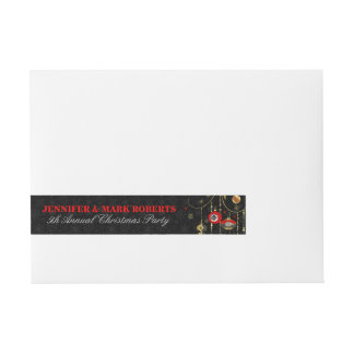 Art-Deco Christmas Ornaments Gold Silve & Red 3 Wraparound Address Label