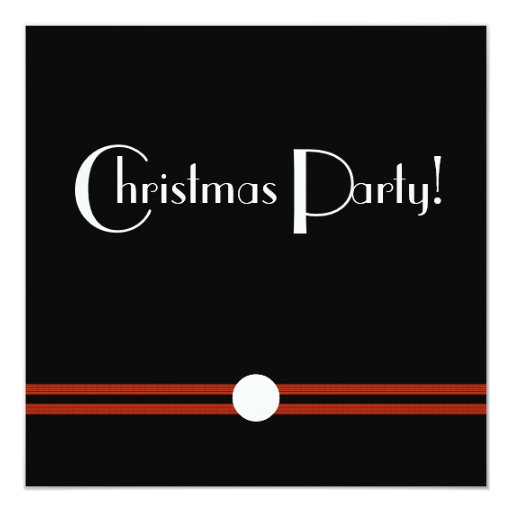Art Deco Christmas Party in Black and White Custom Card