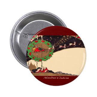 Art Deco Christmas Santa Button