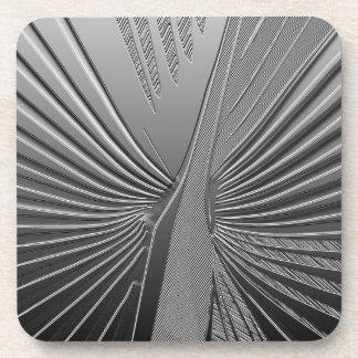 Art Deco chrome palm leaf Beverage Coaster