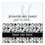 "Art Deco Circle Pattern Save the Date with Initial 5.25"" Square Invitation Card"