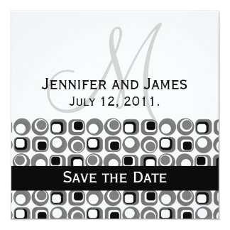 """Art Deco Circle Pattern Save the Date with Initial 5.25"""" Square Invitation Card"""