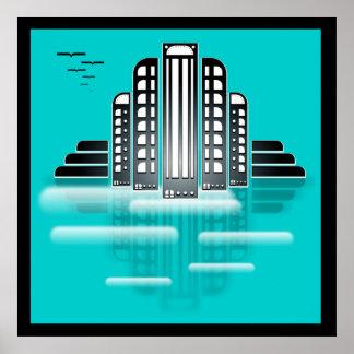 art deco cityscape poster