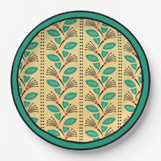 Art Deco Climbing Strawberry Vines on Yellow Paper Plate