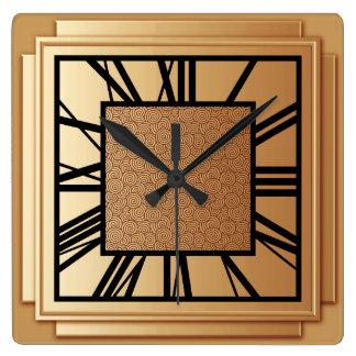 Art déco, cobre cepillado reloj cuadrado