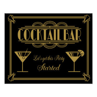 ART Deco Cocktail bar sign 1920's Gatsby Party
