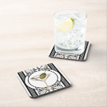 "Art Deco Cocktail Coaster Set (6)<br><div class=""desc"">Heavily influenced by the art deco style of decoration,  this cute martini glass design comes complete with an olive! A very unique and stylish gift idea that would be great for those that love cocktail parties or work in a bar.</div>"