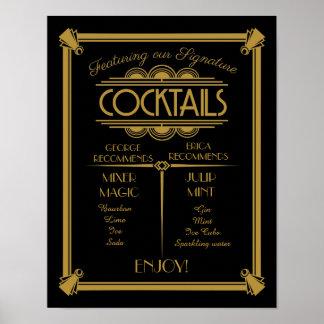 Art Deco cocktail sign, signature, bar sign