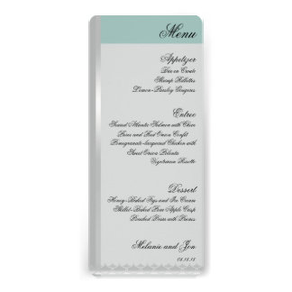 Art Deco Color Block Wedding Reception Menu Cards