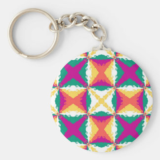 Art Deco Colorful Swirl Retro Abstract Art Basic Round Button Keychain