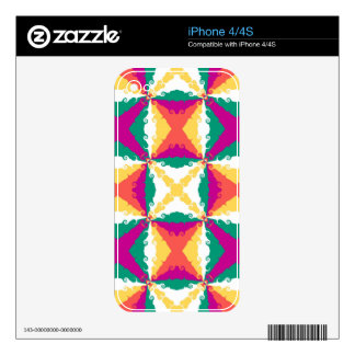 Art Deco Colorful Swirl Retro Abstract Art Skins For iPhone 4S