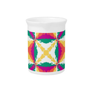 Art Deco Colorful Swirl Retro Abstract Art Square Drink Pitcher